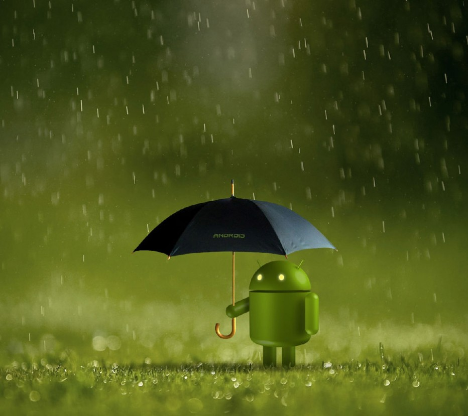 Little Android in the rain
