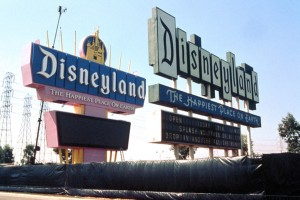 1989 and 1958 Disneyland marquees stand together