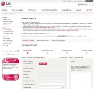 LG repair form