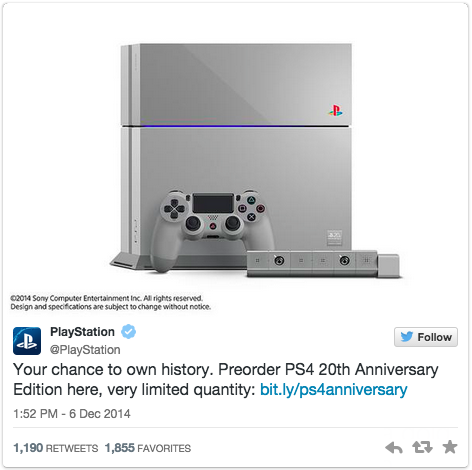 20th Anniversary PlayStation 4 tweet